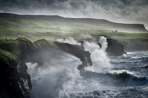 Waves crashing against the Cliffs of Moher, Doolin, Clare, Ireland - CUF44830