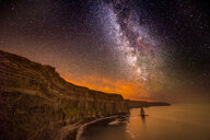 The Milky way visible over the Cliffs of Moher, Doolin, Clare, Ireland - CUF44896