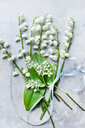 Lily of the valley cut flowers, leaves and ribbon - CUF44956