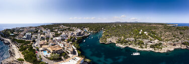 Spain, Balearic Islands, Mallorca, Aerial view of bay Cala Figuera and Calo d'en Busques with Port de Cala Figuera - AMF06017