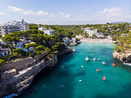 Spain, Balearic Islands, Mallorca, Aerial view of bay Cala Santanyi, beach - AMF06026