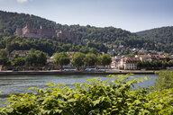Germany, Baden-Wuerttemberg, Heidelberg, Neckar river, City view and Heidelberg Castle - WIF03630