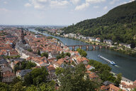 Germany, Baden-Wuerttemberg, Heidelberg, Neckar river, City view with Charles-Theodore-Bridge - WIF03636