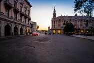 A busy architectural city street in Cuba at sunset - INGF00282
