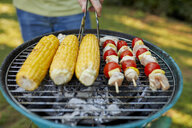 Corn cob and meat skewer on grill at barbecue in garden - ZEDF01583