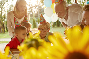 Happy extended family on a garden birthday party - ZEDF01664