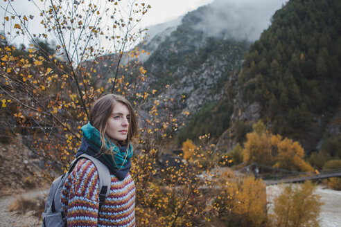 Spain, young woman hiking in Ordesa National Park - AFVF01628