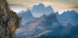 Climber on rocky wall, Dolomites, Cortina d'Ampezzo, Veneto, Italy - CUF45532