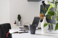 Nptebook, flower and laptop on desk at home - AFVF01652