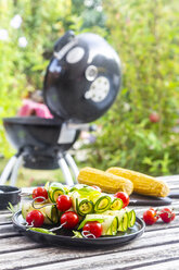 Grilled vegetarian grill skewers, tomato, sheep cheese and zucchini slices - SARF03941