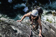 Man trad climbing at The Chief, Squamish, Canada - CUF46086