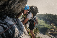 Man trad climbing at The Chief, Squamish, Canada - CUF46107