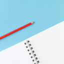 High angle view of pencil and notepad - INGF00533