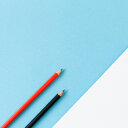 Close-up of colored pencils on white background. - INGF00536