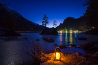 Scenic view of the lake and mountains against a clear sky at night in Bavaria - INGF00782