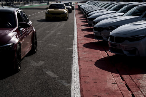 Cars in a row on racetrack - HAMF00430