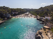 Spain, Balearic Islands, Mallorca, Aerial view of Cala Llombards, beach - AMF06035