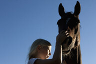 Girl petting muzzle of horse under blue sky - FSIF03332