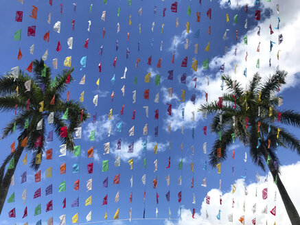 Low angle view of colorful textile decorations hanging by coconut palm trees against cloudy sky - CAVF49270