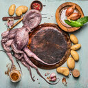Directly above shot of octopus being prepared on a table - INGF01392