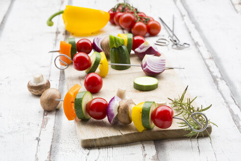 Vegetarian grill spits, orange and yellow paprika, tomato, red onion, zucchini and champignons - LVF07466