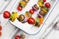 Vegetarian grill spits, orange and yellow paprika, tomato, red onion, zucchini and champignons - LVF07469