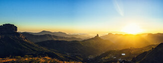 Spain, Canary Islands, Gran Canaria, panoramic view of mountain landscape at sunset - KIJF02065