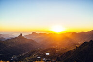 Spain, Canary Islands, Gran Canaria, mountain landscape at sunset - KIJF02068