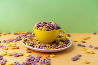 Cup and plate full of colourful cereals - AFVF01844