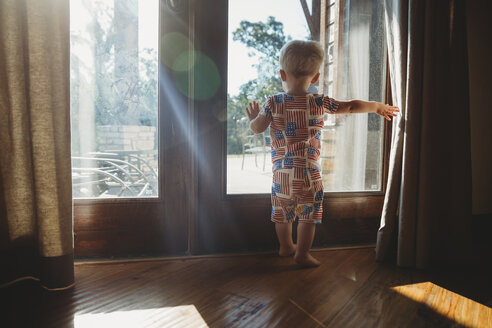 Rear view of baby boy looking through glass door at home - CAVF49747