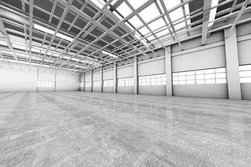 Architecture visualization of an empty warehouse, 3D Rendering - SPCF00286
