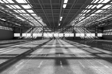 Architecture visualization of an empty warehouse, 3D Rendering - SPCF00289