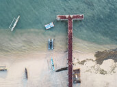 Indonesia, Lombok, Aerial view of seaweed on the pier - KNTF02154