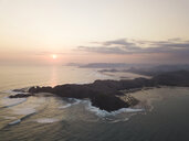 Indonesia, Lombok, Aerial view of island at sunrise - KNTF02201