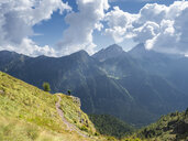 Italy, Lombardy, Valle di Scalve, hiker on hiking trail, Mount Camino - LAF02107