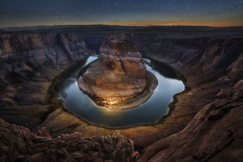 High angle majestic view of Horseshoe Bend against star field - CAVF50696