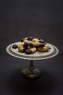 Vegan almond crescents on cake stand - CZF00334