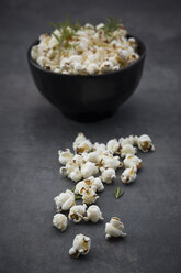 Bowl of popcorn with parmesan and rosemary - LVF07494