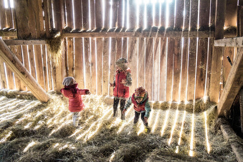 Three little girls playing together in a hey barn - PSIF00126