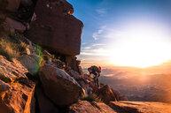 Rock climber, Desert Towers, Indian Creek, Moab, Utah, USA - ISF20020