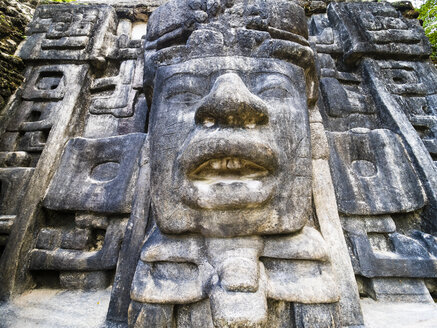 Central America, Belize, Yucatan peninsula, New River, Lamanai, Maya ruin, Lamanai Mask Temple - AMF06118