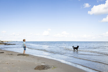 Boy with dog at the beach - OJF00280
