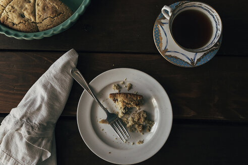 Overhead view of tart with coffee on table - CAVF51728
