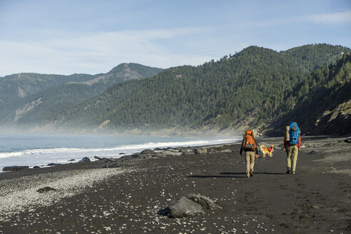 Rear view of hikers with backpacks and dog walking at beach against mountains and sky - CAVF51953