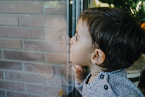 Side view of baby girl kissing glass while looking through window at home - CAVF51992