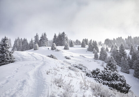 Distant view of man hiking on snow covered mountain against cloudy sky - CAVF52343