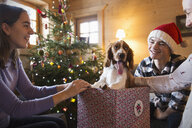 Happy family with dog in Christmas gift box - HOXF03956