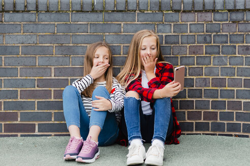 Portrait of two girls sitting in front of brick wall taking selfie with smartphone - NMSF00285