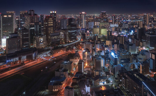 Japan, Osaka, Aerial view at night - EPF00504