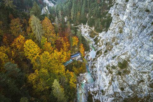 Austria, Lower Austria, Aerial view of a snack station in the Oetschergraeben in autumn - HMEF00047